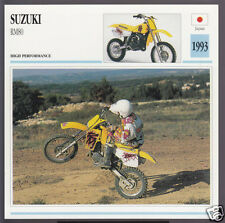 1993 Suzuki RM80 (80cc) Japan Motocross Bike Motorcycle Photo Spec Info Card