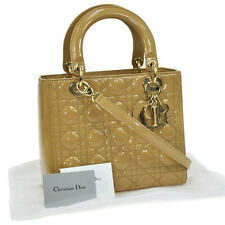 Auth Christian Dior Lady Dior Cannage 2way Hand Bag Beige Patent Leather JT04178