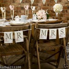New wedding decoration with love vintage floral shabby Mr Mrs chair bunting