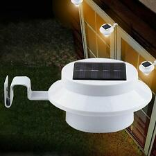 Outdoor Solar Power 3-LED Fence Gutter Garden Lawn Roof Yard Wall Light DIY DHC