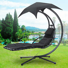 Hanging Helicopter Dream Lounger Chair Arc Stand Swing Hammock Chair Canopy Blac