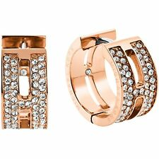 MICHAEL KORS Huggie Earrings Rose Gold Swarovski Crystals Pave Baguette MKJ4448