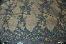 Embroidery lace, 120 cm wide, black, sold by half  meter
