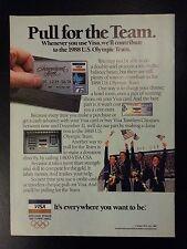 Original 1987 USA Olympic Team VISA Sports Illustrated Vintage Print Ad