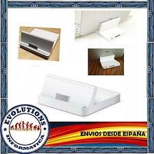 BASE DE CARGA DOCK PARA IPAD2 IPAD IPHONE 4S 3GS AUDIO MINI JACK SOPORTE BLANCO