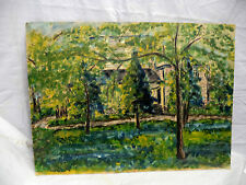 1950s Oil Painting Muskoka Cottage Home Viewed Through The Trees Study in Greens
