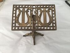 VINTAGE BRASS MINIATURE SMALL HARP FIGURINE MUSIC TABLE STAND Card Holder