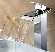 TALL SQUARE WATERFALL BASIN MONO MIXER TAP SOLID BRASS CHROME WITH