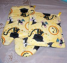 Halloween Kitchen Oven Mitt Pot Holder Black Cat yellow/orange Moon Balloon Mice