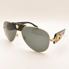Versace 2150-Q 1002/87 Black Gold Gray New Authentic Sunglasses