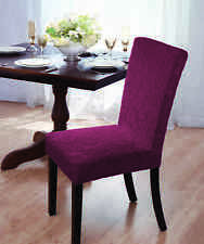 "VELVET ""STRETCH"" DAMASK DINING CHAIR COVER--BURGUNDY-COMES IN 4 COLORS-CLEARANCE"