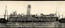 "1919 Troopship ""Mongolia"" arriving in Boston Panoramic Photo 1st to sink sub"