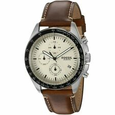 FOSSIL Sport 54 Chronograph Brown Leather Band Stainless Steel WATCH CH3023