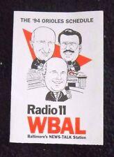 1994 Orioles MLB Baseball Schedule - Radio 11 WBAL - Tri-Fold Paper Schedule