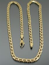 VINTAGE 9ct GOLD FLAT SQUARE CURB LINK NECKLACE CHAIN 17 inch 1984