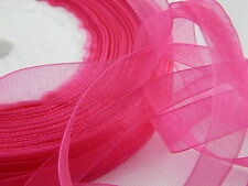 10 MM WOVEN EDGE SHEER ORGANZA CHIFFON RIBBON HIGH QUALITY 30 COLORS 1,2&5 Meter