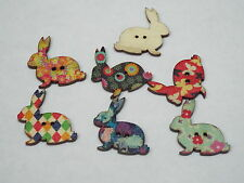 5pc 30mm Painted Rabbit Wooden Cardigan Trouser Shirt Kid Baby Button 0284