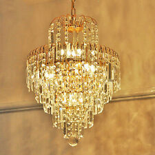 NEW Gold Crystal Glass Chandelier Ceiling Light Lamp Pendant Lighting Fixtures