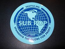 "SUB POP SEATTLE 4"" BLUE GLOBE CIRCLE LOGO Sticker Decal pearl jam nirvana"