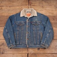"Mens Vintage Levis Red Tab Fur Lined Denim Sherpa Jacket Blue M 42"" R4500"