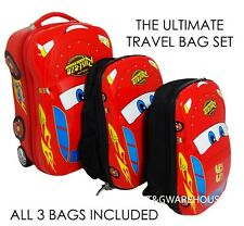 Lightning McQueen Disney Cars Rolling Hardcase Luggage Red Suitcase +2 Back Pack