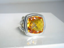 DAVID YURMAN ALBION 17MM CITRINE STERLING SILVER RING SIZE 7 LIST $1275