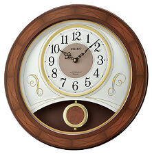 *BRAND NEW* Seiko Analog Display Round Wooden Clock W/ Melodies Watch QXM367BLH