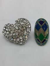Lot Of 2 Stretch Rings Rhinestone Heart Tribal Design