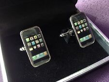 Silver Black Mobile Phone iPhone Cufflinks, Black Velvet Gift Box, Brand New