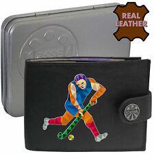 Jugador de hockey Palo Y Pelota klassek Regalo de accesorios de cuero de tipo cartera actual de estaño