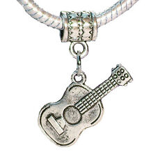 Acoustic Guitar Music Musical Instrument Dangle Bead for Silver Charm Bracelet