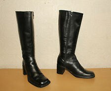 Superb Black Leather BARRATTS Zip Mid Calf Mid Heel  Riding Boots Sz 6 / 39 Boho