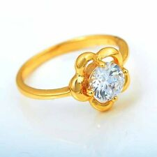 Brilliant 9K Yellow Gold Filled CZ  Flower Women Ring Size:7# R525