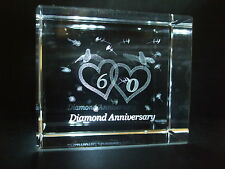 LASER CRYSTAL PAPERWEIGHT WEDDING 60th DIAMOND ANNIVERSARY 3695 PRESENTATION BOX