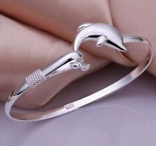 Fashion Women Lady Jewelry Solid 925 Silver Dolphin Bangle/ Bracelet Free P&P