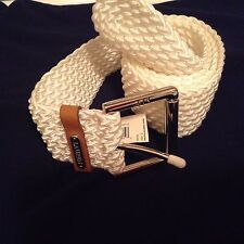 Lauren by Ralph Lauren Women's Woven Elastic and Leather  Belt CREAMY WHITE sz L
