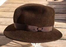 Vintage MAKINS Soft BEAVER Fur Felt FEDORA WIDE BRIM Trilby Brown Large HAT NY