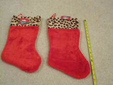 Christmas Stocking red fuzzy leopard print on  top set of 2 new with tags