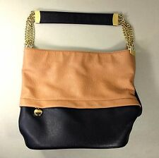 Ivanka Trump Two-Tone Brown-Black Leather Top Chain Strap Purse Nice Large Size