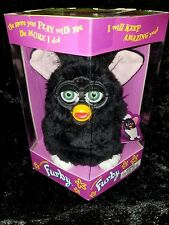 VINTAGE 1998 BLACK FURBY, GREEN EYES & PINK EARS SEALED IN BOX - MINT CONDITION