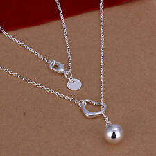 New charms cute Silver Plated jewelry fashion women wedding heart necklace N164
