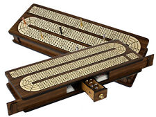 Continuous Cribbage Board Inlaid 4 Tracks Teakwood/Maple with Sliding Lids