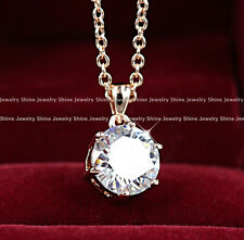 9K ROSE GOLD FILLED 3CARAT solitaire DIAMOND LADIES gift Solid PENDANT NECKLACE