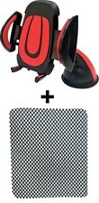1 Red/Grey Universal Car Mobile Holder, 1 Anti Slip Mat For Car Dashboard Combo