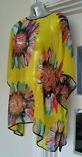 Gorgeous LARGE FLOWER KAFTAN beach YELLOW cover-up size 12-30 ONESIZE FITS ALL