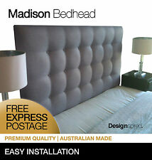 MADISON DELUXE Upholstered Bedhead / Headboard for King Ensemble - Ash