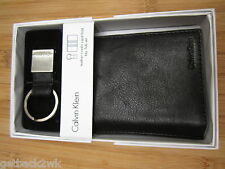 NEW Calvin Klein CK WALLET BIFOLD ID Key Fob Set REAL LEATHER Black Silver