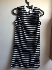 Ladies/Women High Neck Collar Black/White Striped Skater Dress UK 8