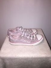 Womens/juniors size 3 pink and white Silver canvas Converse All Stars