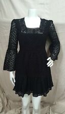 Moda International Victoria's Secret Black Cotton Eyelet Tiered Dress Sz. S NWOT